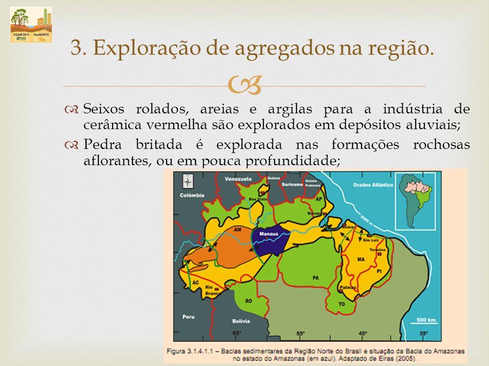 Seixos rolados, areias e argilas para a indústria de cerâmica vermelha são explorados em depósitos aluviais; Pedra britada é explorada nas formações r