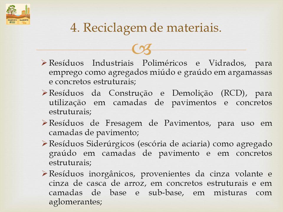 Resíduos Industriais Poliméricos e Vidrados, para emprego como agregados miúdo e graúdo em argamassas e concretos estruturais; Resíduos da Construção