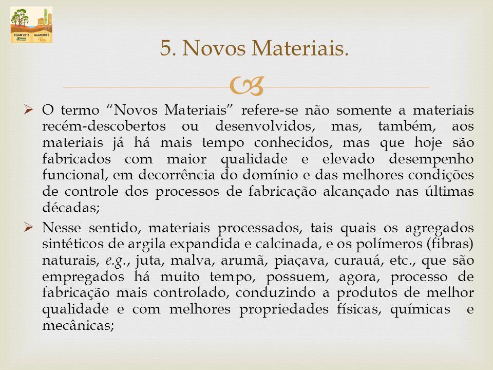 O termo Novos Materiais refere-se não somente a materiais recém-descobertos ou desenvolvidos, mas, também, aos materiais já há mais tempo conhecidos,