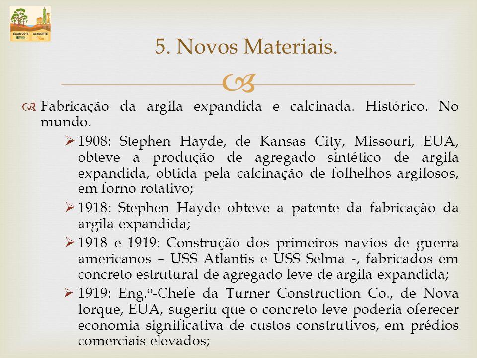Fabricação da argila expandida e calcinada. Histórico. No mundo. 1908: Stephen Hayde, de Kansas City, Missouri, EUA, obteve a produção de agregado sin