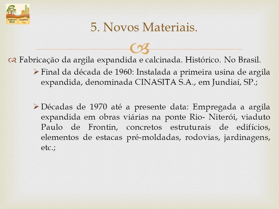 Fabricação da argila expandida e calcinada. Histórico. No Brasil. Final da década de 1960: Instalada a primeira usina de argila expandida, denominada