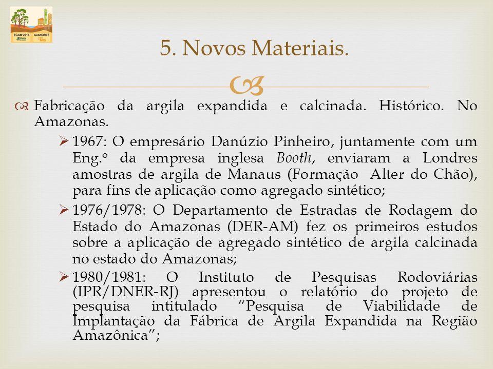 Fabricação da argila expandida e calcinada. Histórico. No Amazonas. 1967: O empresário Danúzio Pinheiro, juntamente com um Eng. o da empresa inglesa B