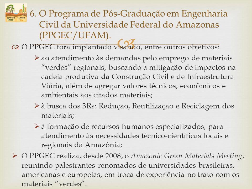 O PPGEC fora implantado visando, entre outros objetivos: ao atendimento às demandas pelo emprego de materiais verdes regionais, buscando a mitigação d