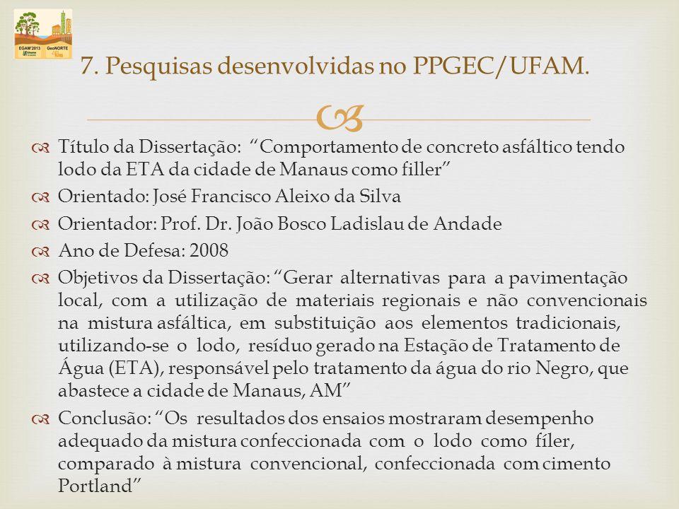 Título da Dissertação: Comportamento de concreto asfáltico tendo lodo da ETA da cidade de Manaus como filler Orientado: José Francisco Aleixo da Silva