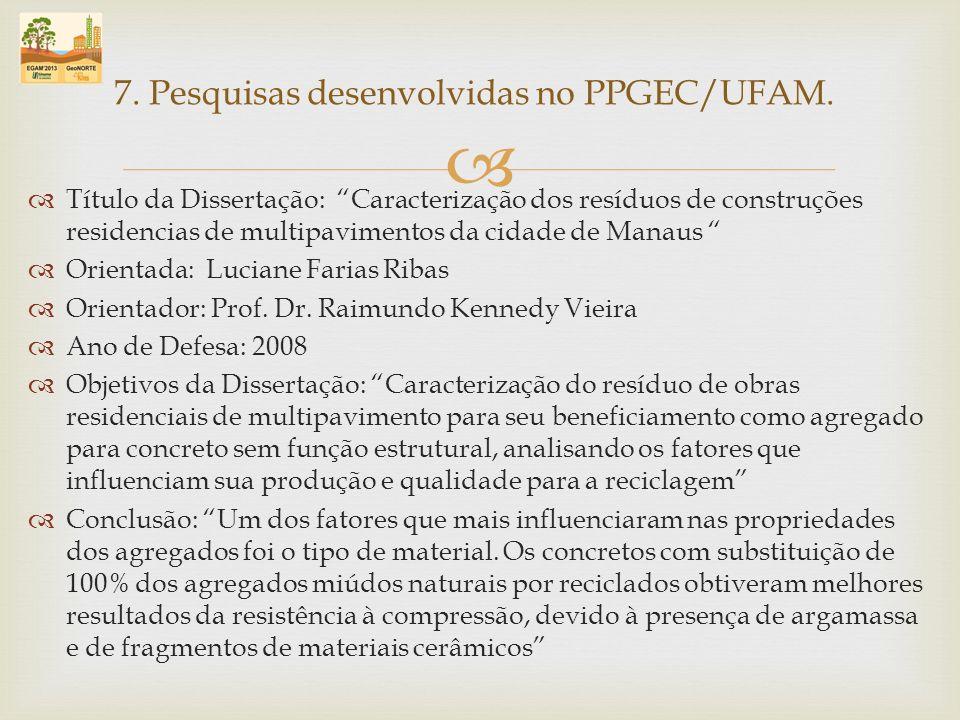 Título da Dissertação: Caracterização dos resíduos de construções residencias de multipavimentos da cidade de Manaus Orientada: Luciane Farias Ribas O
