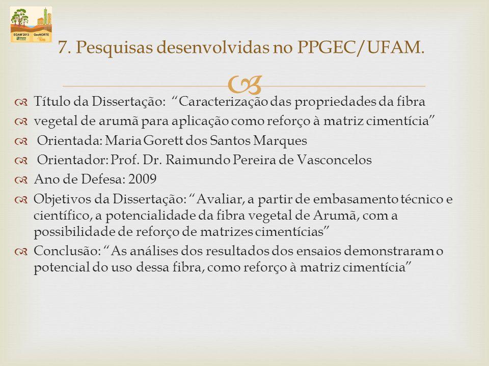 Título da Dissertação: Caracterização das propriedades da fibra vegetal de arumã para aplicação como reforço à matriz cimentícia Orientada: Maria Gore