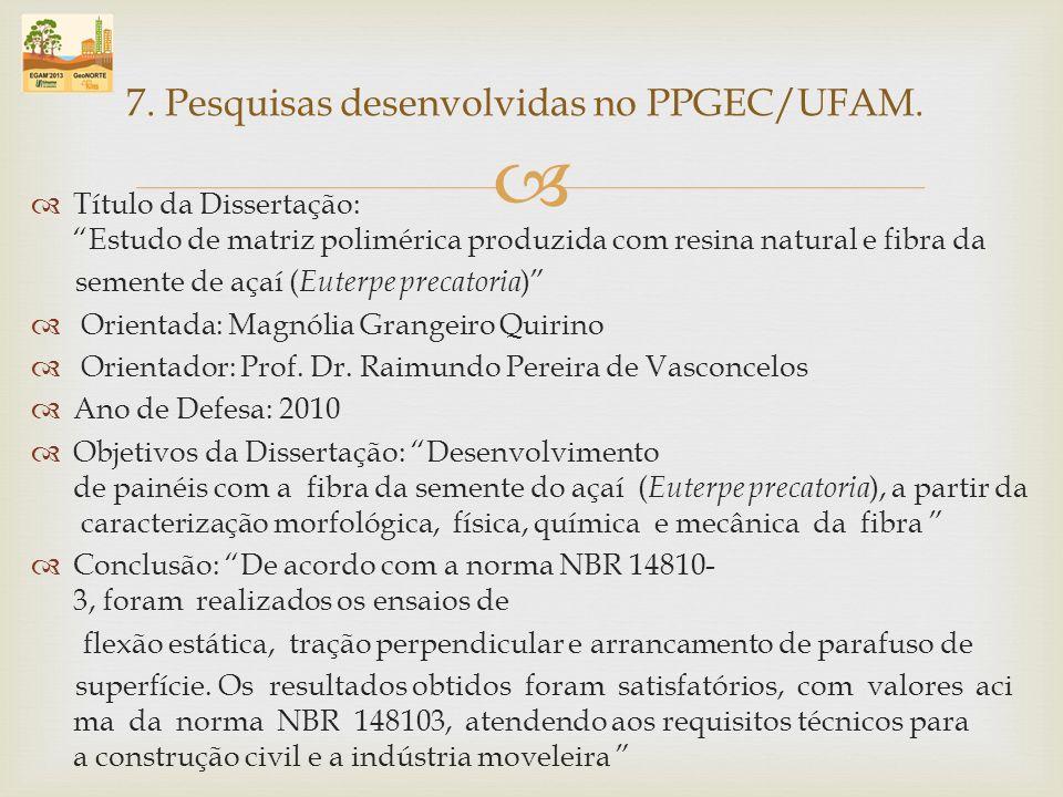 Título da Dissertação: Estudo de matriz polimérica produzida com resina natural e fibra da semente de açaí ( Euterpe precatoria ) Orientada: Magnólia