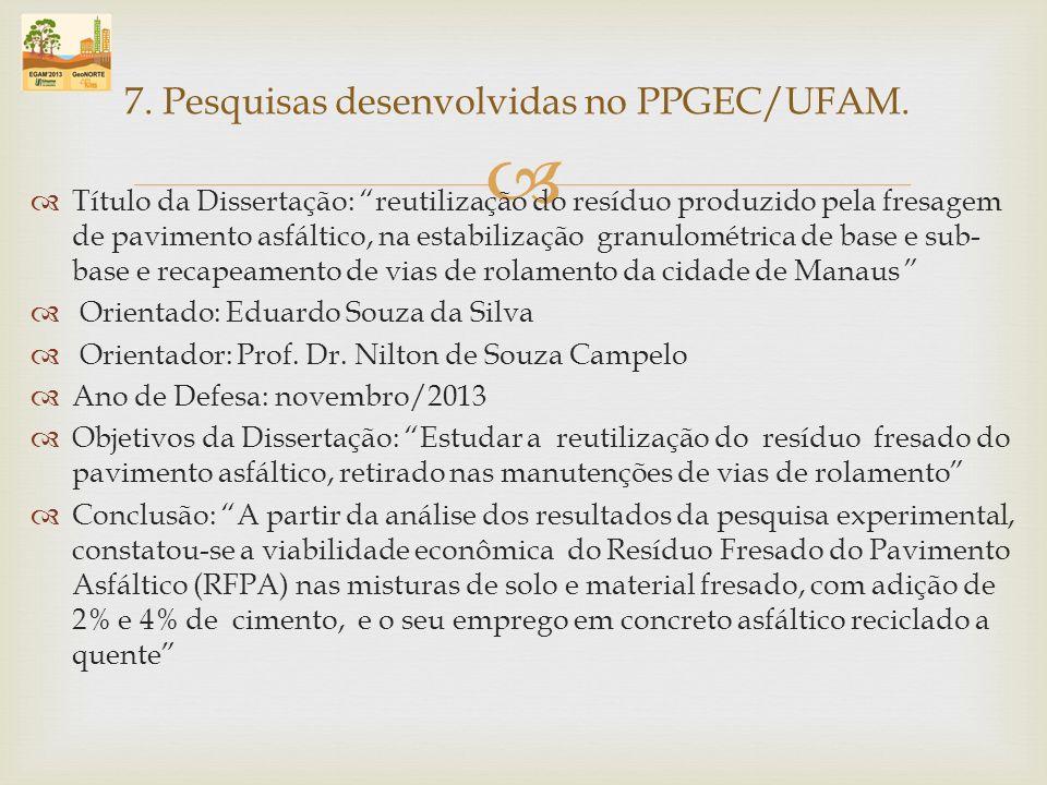 Título da Dissertação: reutilização do resíduo produzido pela fresagem de pavimento asfáltico, na estabilização granulométrica de base e sub- base e r