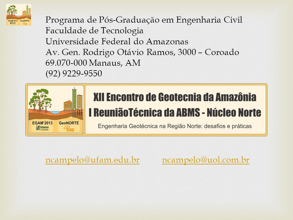 Programa de Pós-Graduação em Engenharia Civil Faculdade de Tecnologia Universidade Federal do Amazonas Av. Gen. Rodrigo Otávio Ramos, 3000 – Coroado 6