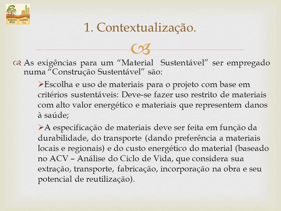 As exigências para um Material Sustentável ser empregado numa Construção Sustentável são: Escolha e uso de materiais para o projeto com base em critér