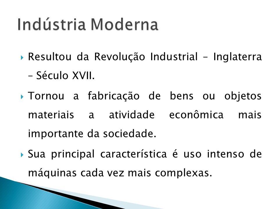 Resultou da Revolução Industrial – Inglaterra – Século XVII. Tornou a fabricação de bens ou objetos materiais a atividade econômica mais importante da
