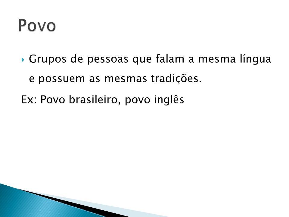 Grupos de pessoas que falam a mesma língua e possuem as mesmas tradições. Ex: Povo brasileiro, povo inglês