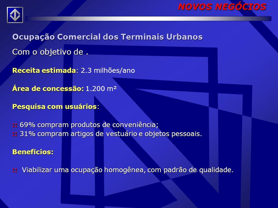 Ocupação Comercial nas Estações e Terminais Urbanos Concessão de uso de áreas nas estações e terminais para exploração comercial. Receita estimada: Re