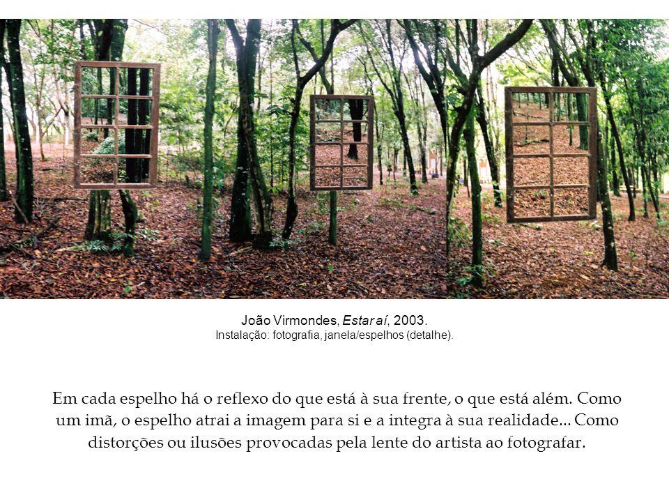 João Virmondes, Estar aí, 2003.Instalação: fotografia, janela/espelhos (detalhe).