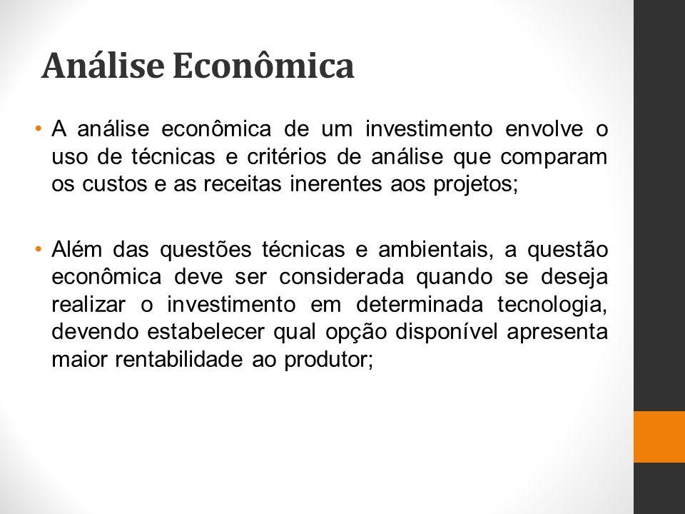 Análise Econômica A análise econômica de um investimento envolve o uso de técnicas e critérios de análise que comparam os custos e as receitas inerent