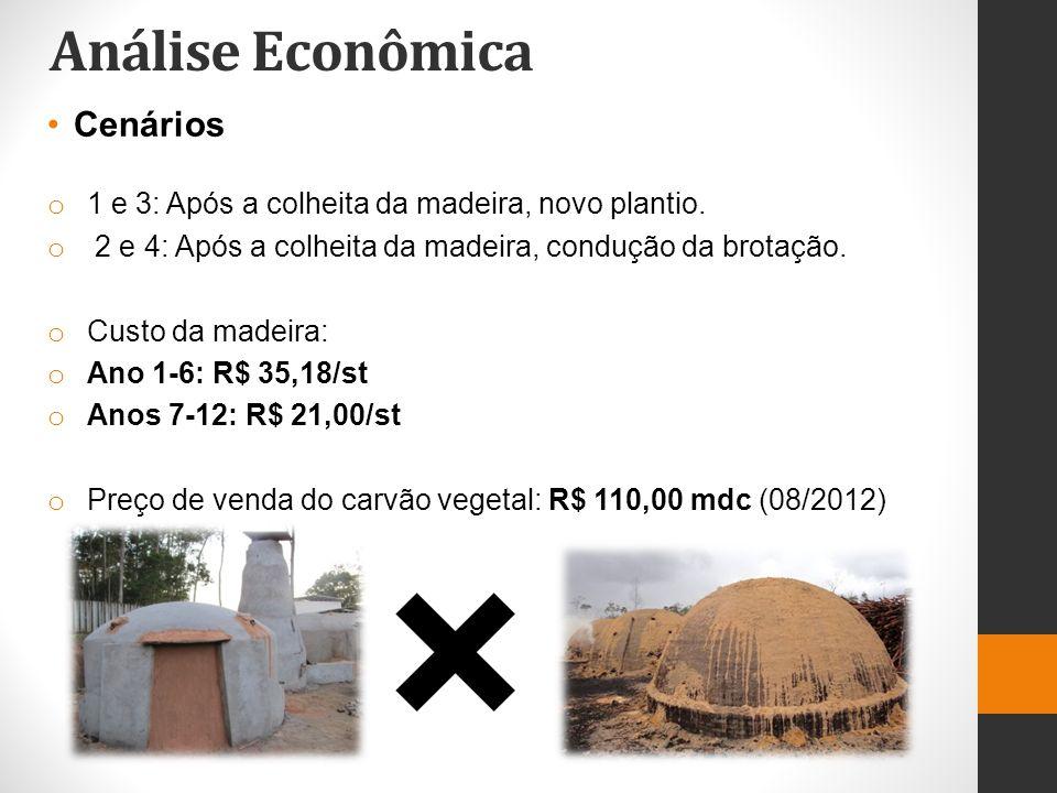 Análise Econômica Cenários o 1 e 3: Após a colheita da madeira, novo plantio. o 2 e 4: Após a colheita da madeira, condução da brotação. o Custo da ma