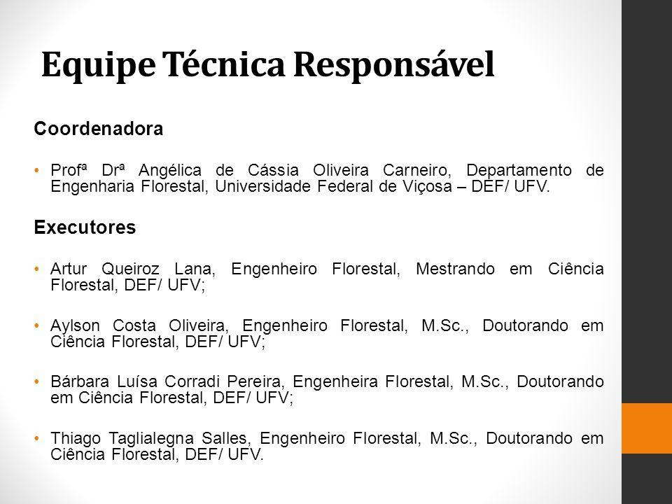 Equipe Técnica Responsável Coordenadora Profª Drª Angélica de Cássia Oliveira Carneiro, Departamento de Engenharia Florestal, Universidade Federal de