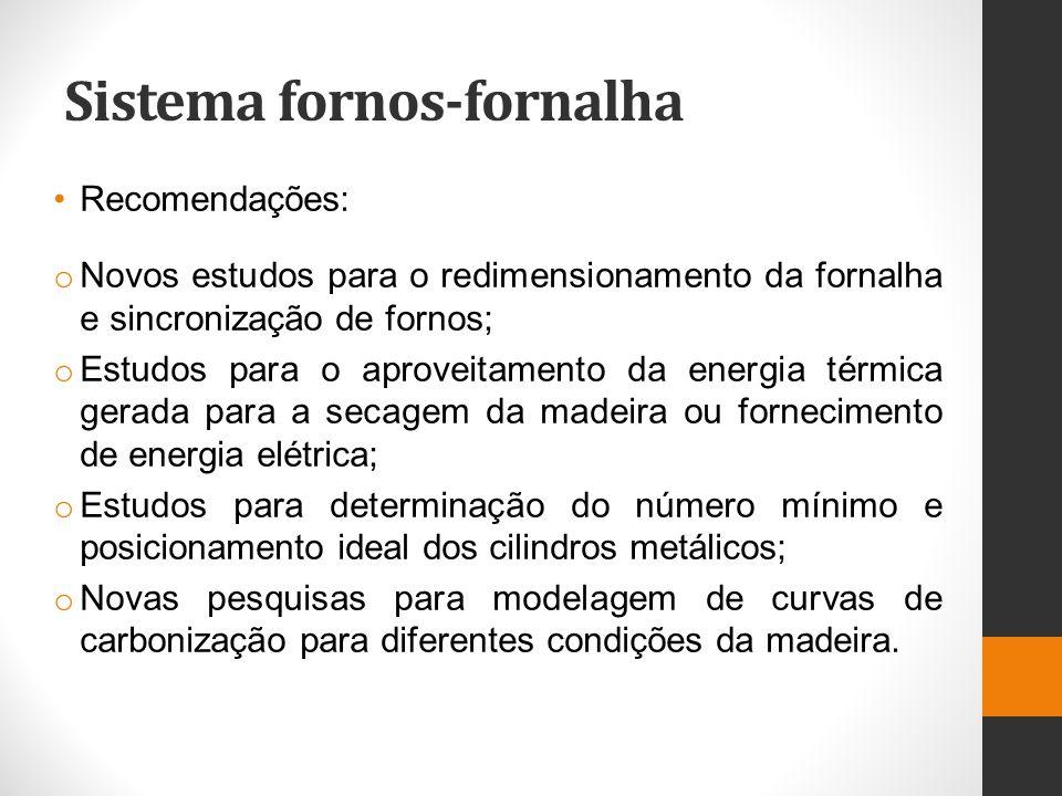Sistema fornos-fornalha Recomendações: o Novos estudos para o redimensionamento da fornalha e sincronização de fornos; o Estudos para o aproveitamento