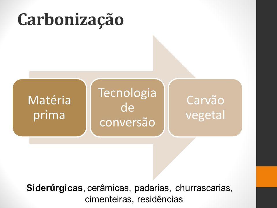 Carbonização Matéria prima Tecnologia de conversão Carvão vegetal Siderúrgicas, cerâmicas, padarias, churrascarias, cimenteiras, residências