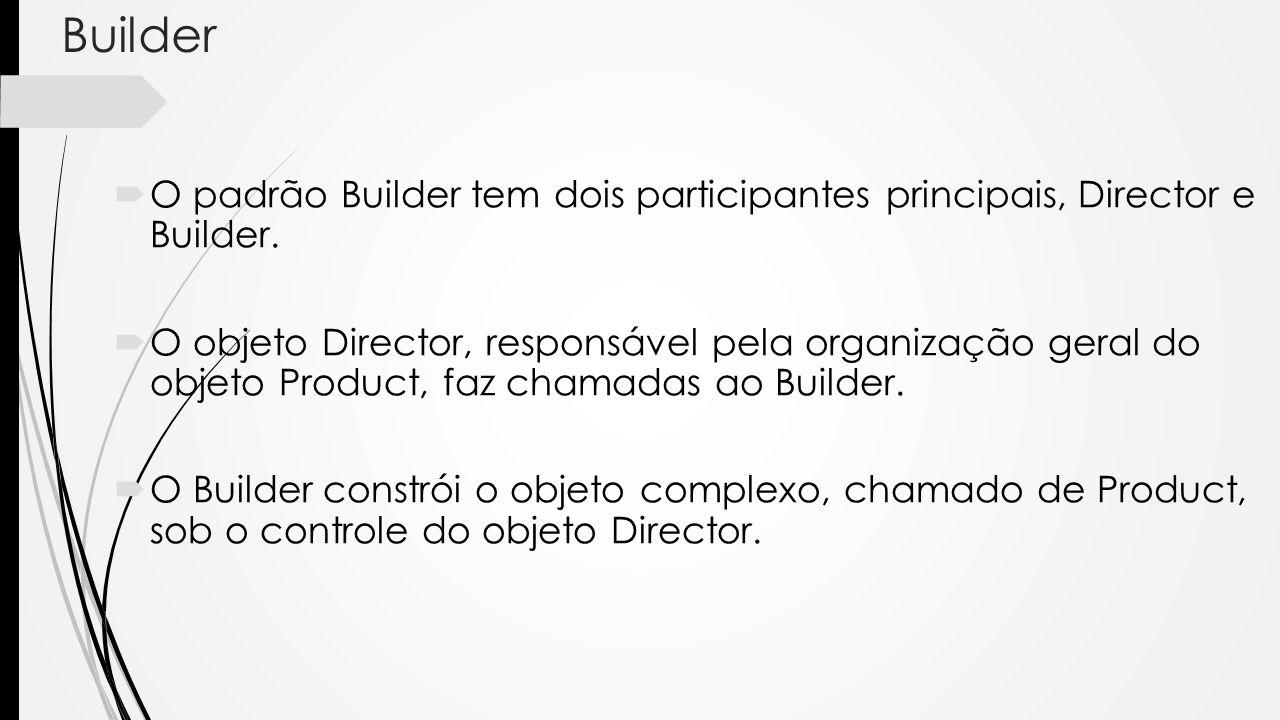 Builder O padrão Builder tem dois participantes principais, Director e Builder. O objeto Director, responsável pela organização geral do objeto Produc