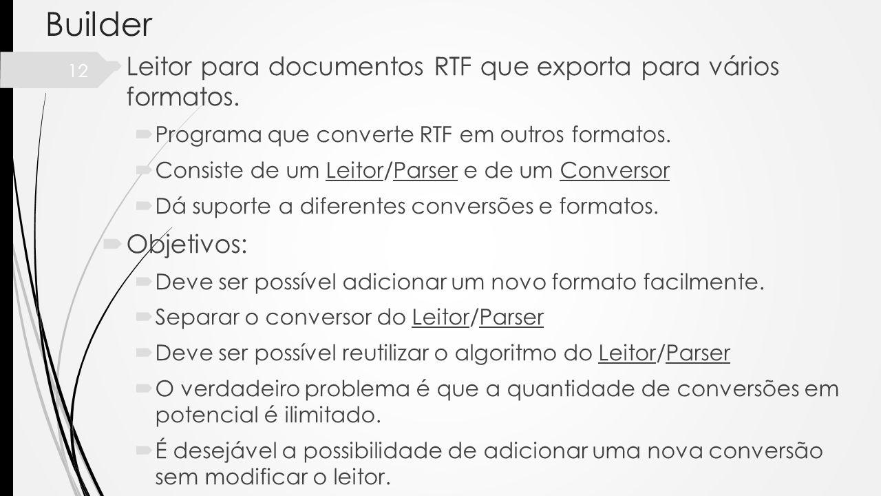 12 Builder Leitor para documentos RTF que exporta para vários formatos. Programa que converte RTF em outros formatos. Consiste de um Leitor/Parser e d