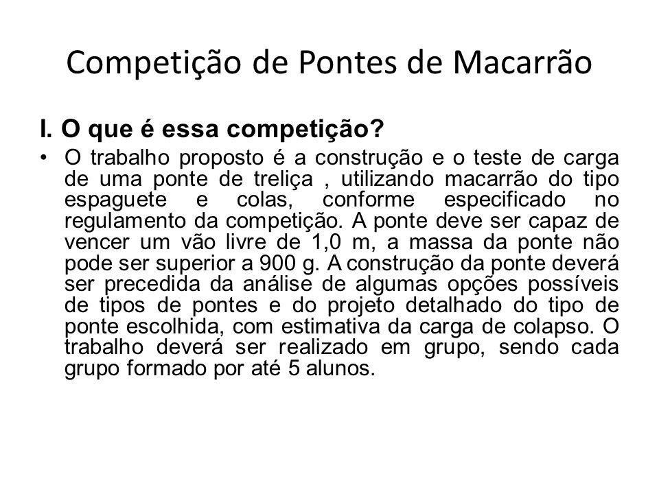 Competição de Pontes de Macarrão I. O que é essa competição? O trabalho proposto é a construção e o teste de carga de uma ponte de treliça, utilizando