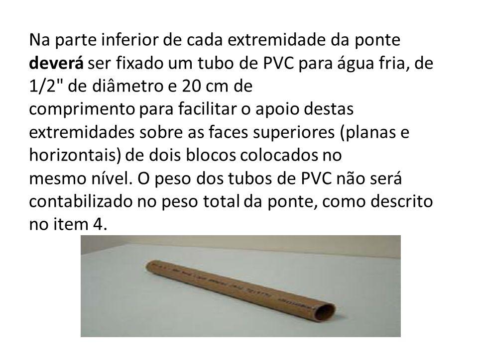 Na parte inferior de cada extremidade da ponte deverá ser fixado um tubo de PVC para água fria, de 1/2
