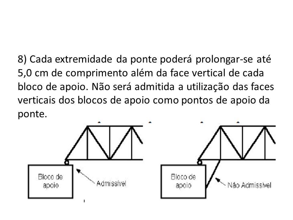 8) Cada extremidade da ponte poderá prolongar-se até 5,0 cm de comprimento além da face vertical de cada bloco de apoio. Não será admitida a utilizaçã