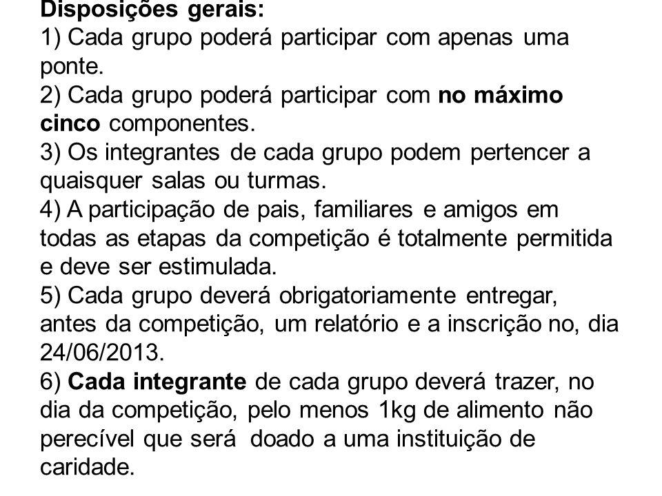 Disposições gerais: 1) Cada grupo poderá participar com apenas uma ponte. 2) Cada grupo poderá participar com no máximo cinco componentes. 3) Os integ