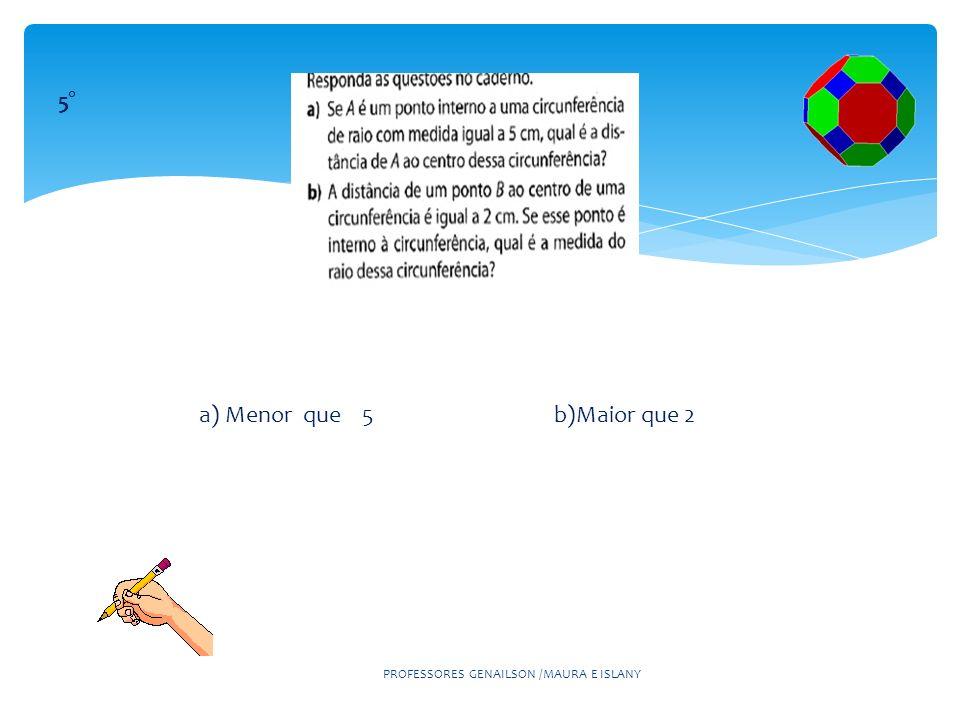 PROFESSORES GENAILSON /MAURA E ISLANY 5° a) Menor que 5 b)Maior que 2