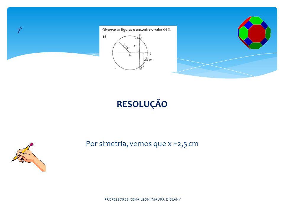 RESOLUÇÃO Por simetria, vemos que x =2,5 cm PROFESSORES GENAILSON /MAURA E ISLANY 7°
