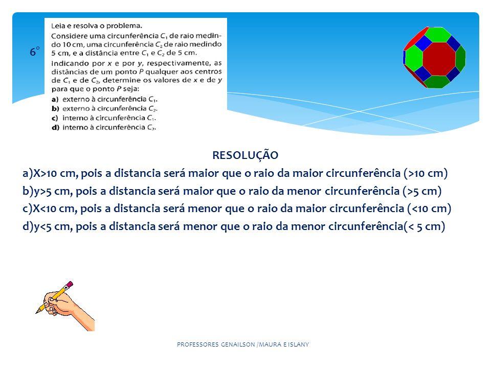 PROFESSORES GENAILSON /MAURA E ISLANY 6° RESOLUÇÃO a)X>10 cm, pois a distancia será maior que o raio da maior circunferência (>10 cm) b)y>5 cm, pois a