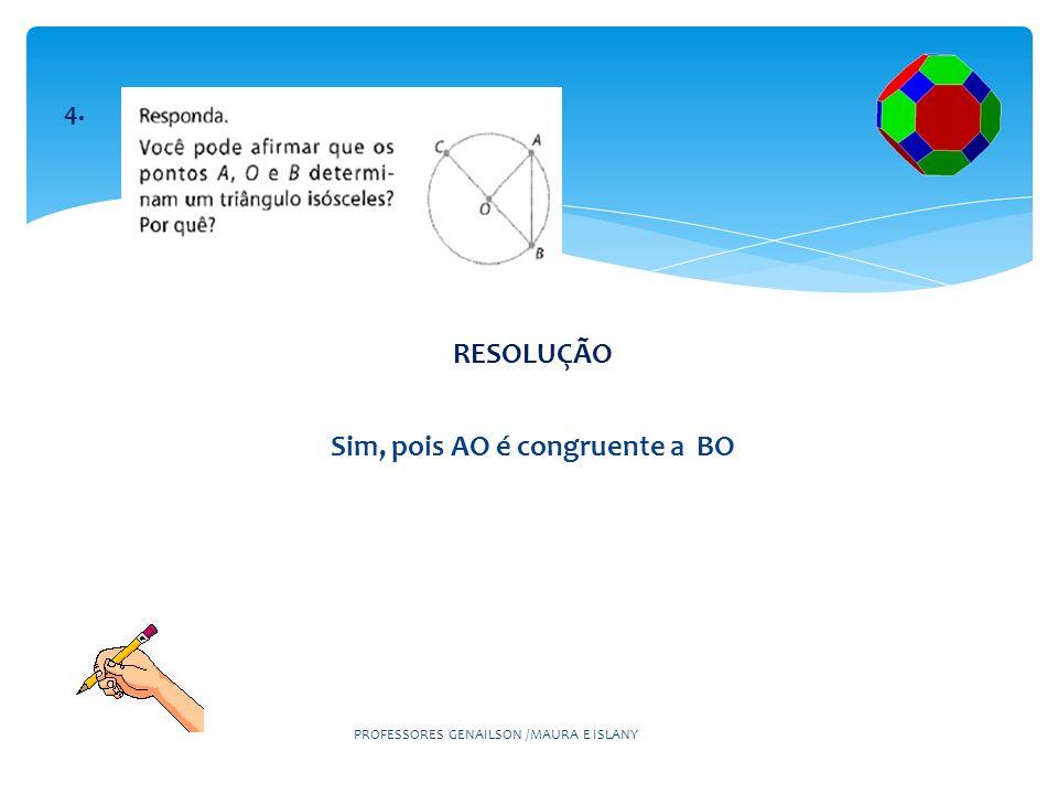 RESOLUÇÃO No mínimo 34 cm, pois d= 2r, ou seja, d= 2.17 =.> d= 34 cm PROFESSORES GENAILSON /MAURA E ISLANY 5°