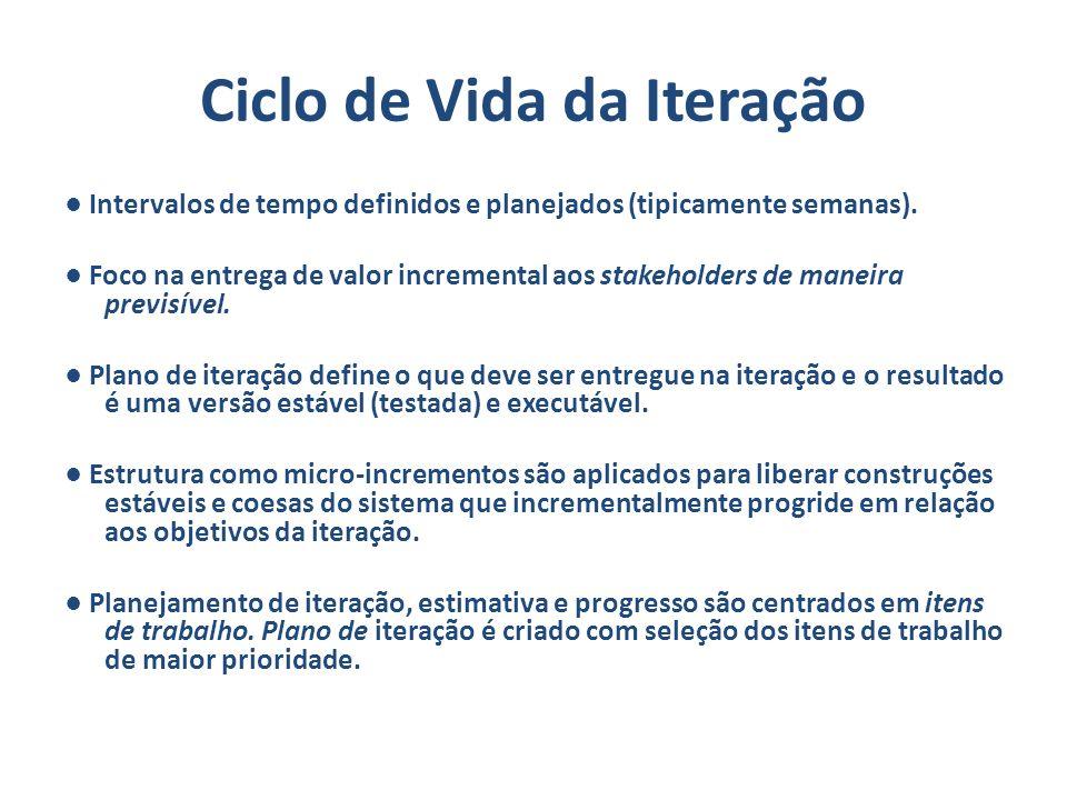 Ciclo de Vida da Iteração Intervalos de tempo definidos e planejados (tipicamente semanas). Foco na entrega de valor incremental aos stakeholders de m