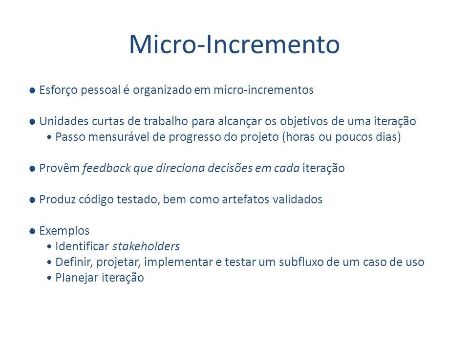 Micro-Incremento Esforço pessoal é organizado em micro-incrementos Unidades curtas de trabalho para alcançar os objetivos de uma iteração Passo mensur