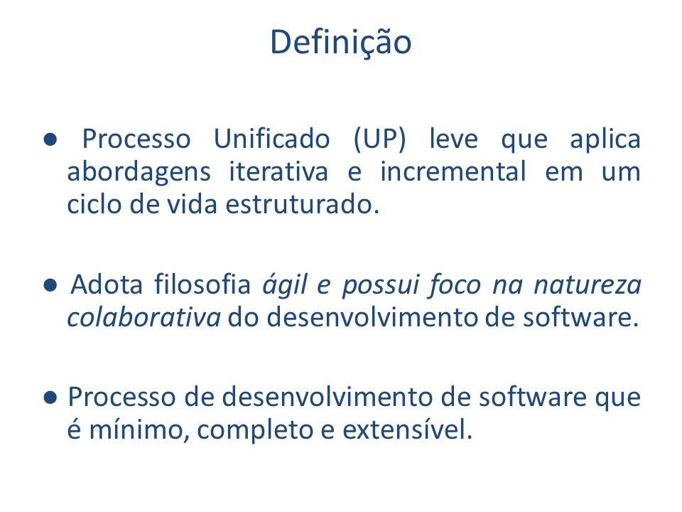 Definição Processo Unificado (UP) leve que aplica abordagens iterativa e incremental em um ciclo de vida estruturado. Adota filosofia ágil e possui fo