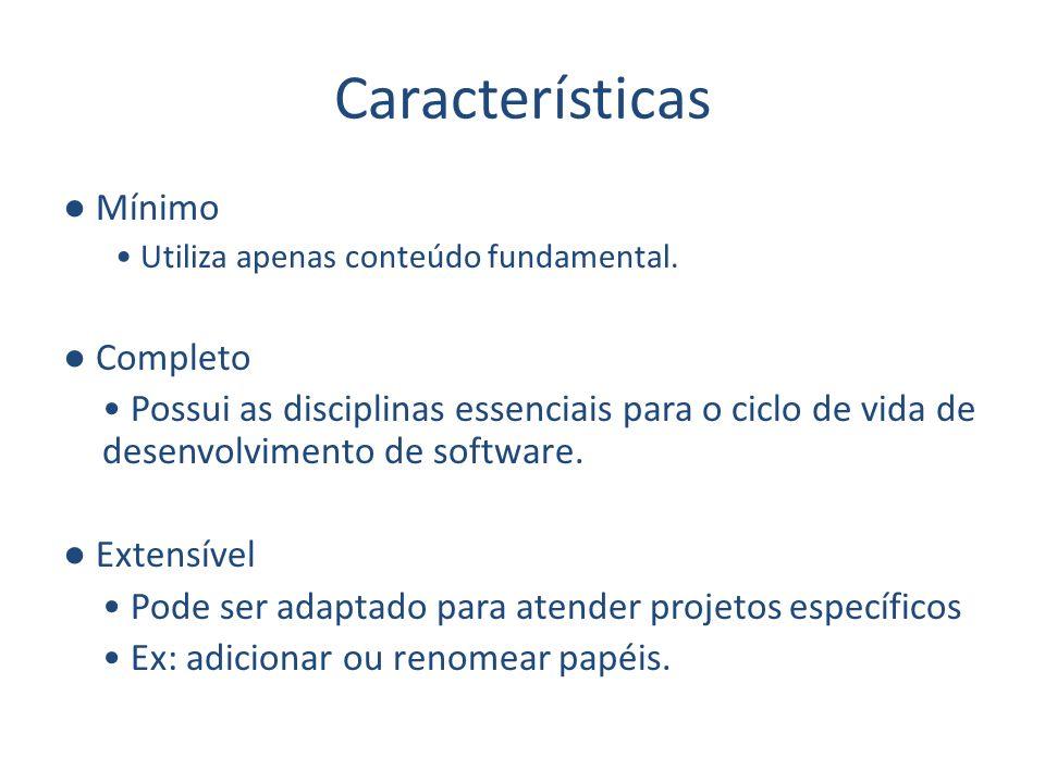Características Mínimo Utiliza apenas conteúdo fundamental. Completo Possui as disciplinas essenciais para o ciclo de vida de desenvolvimento de softw