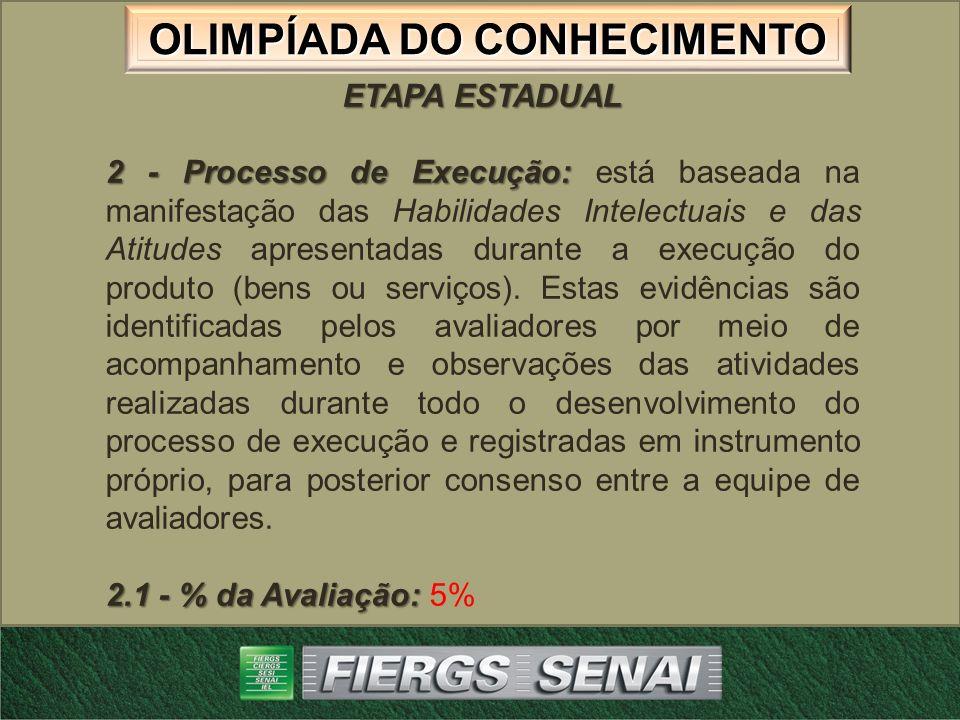 OLIMPÍADA DO CONHECIMENTO ETAPA ESTADUAL 2 - Processo de Execução: 2 - Processo de Execução: está baseada na manifestação das Habilidades Intelectuais