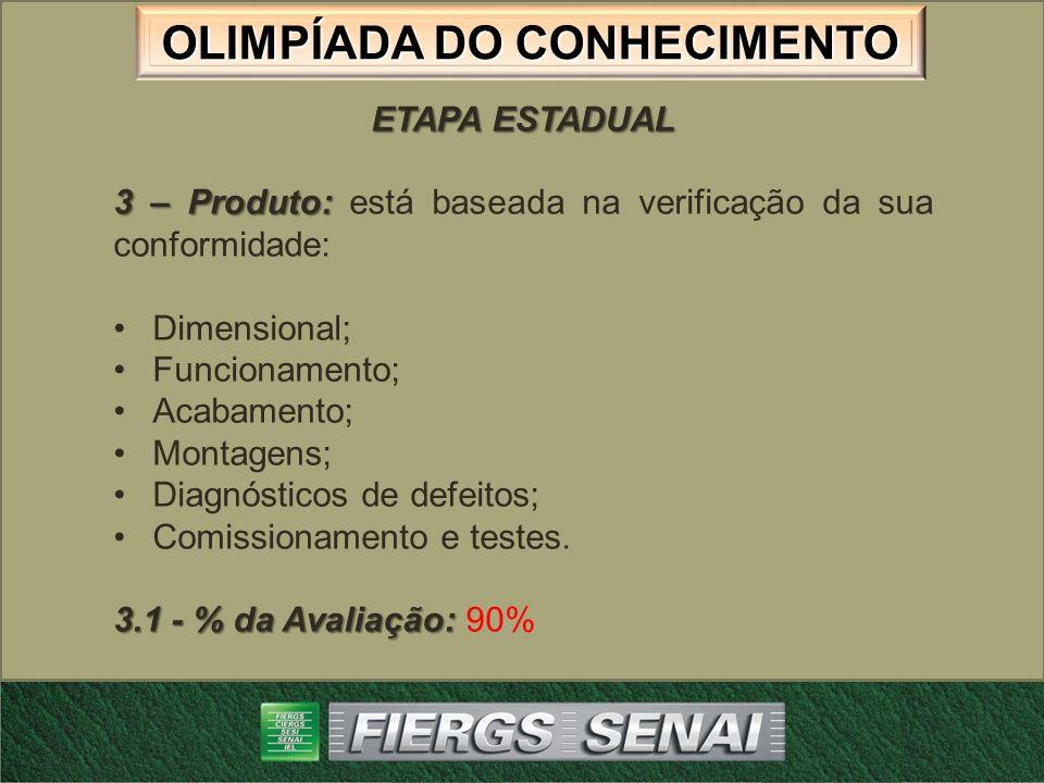 OLIMPÍADA DO CONHECIMENTO ETAPA ESTADUAL 3 – Produto: 3 – Produto: está baseada na verificação da sua conformidade: Dimensional; Funcionamento; Acabam