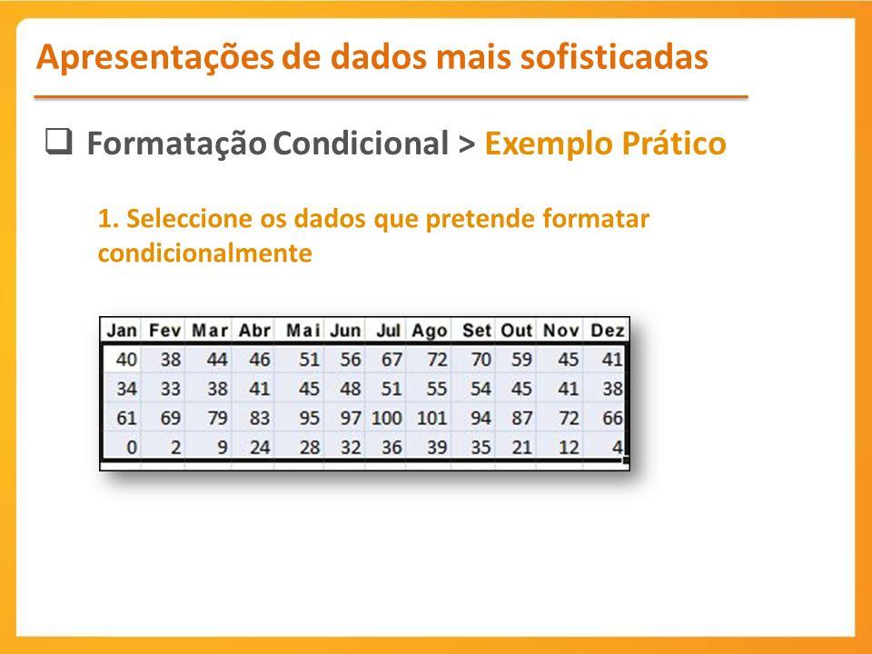 Formatação Condicional > Exemplo Prático Apresentações de dados mais sofisticadas 1.