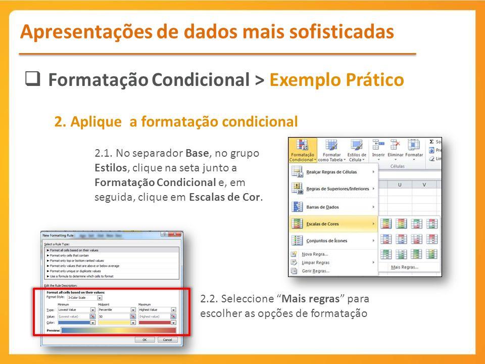 Formatação Condicional > Exemplo Prático Apresentações de dados mais sofisticadas 2.