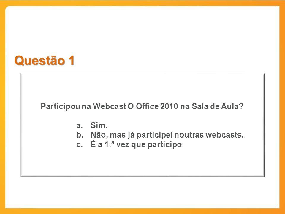 Questão 1 Participou na Webcast O Office 2010 na Sala de Aula.