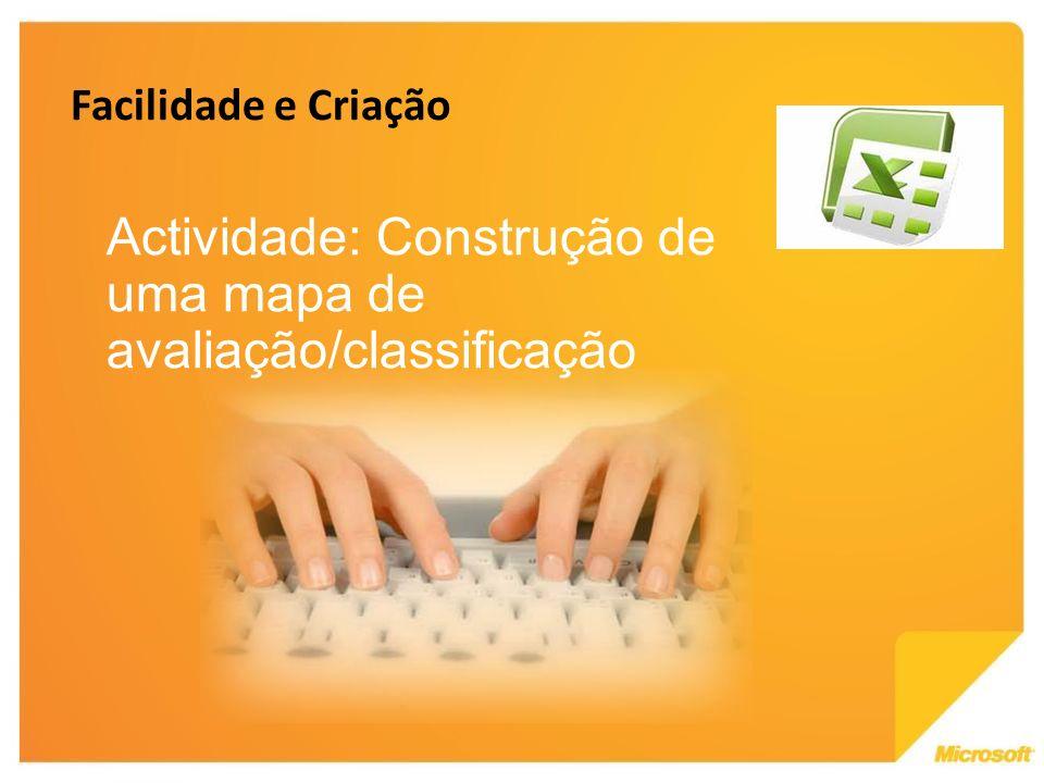 Actividade: Construção de uma mapa de avaliação/classificação Facilidade e Criação