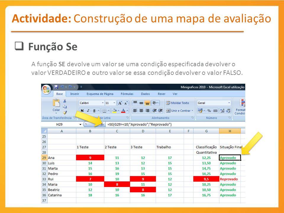 Actividade: Construção de uma mapa de avaliação Função Se A função SE devolve um valor se uma condição especificada devolver o valor VERDADEIRO e outro valor se essa condição devolver o valor FALSO.