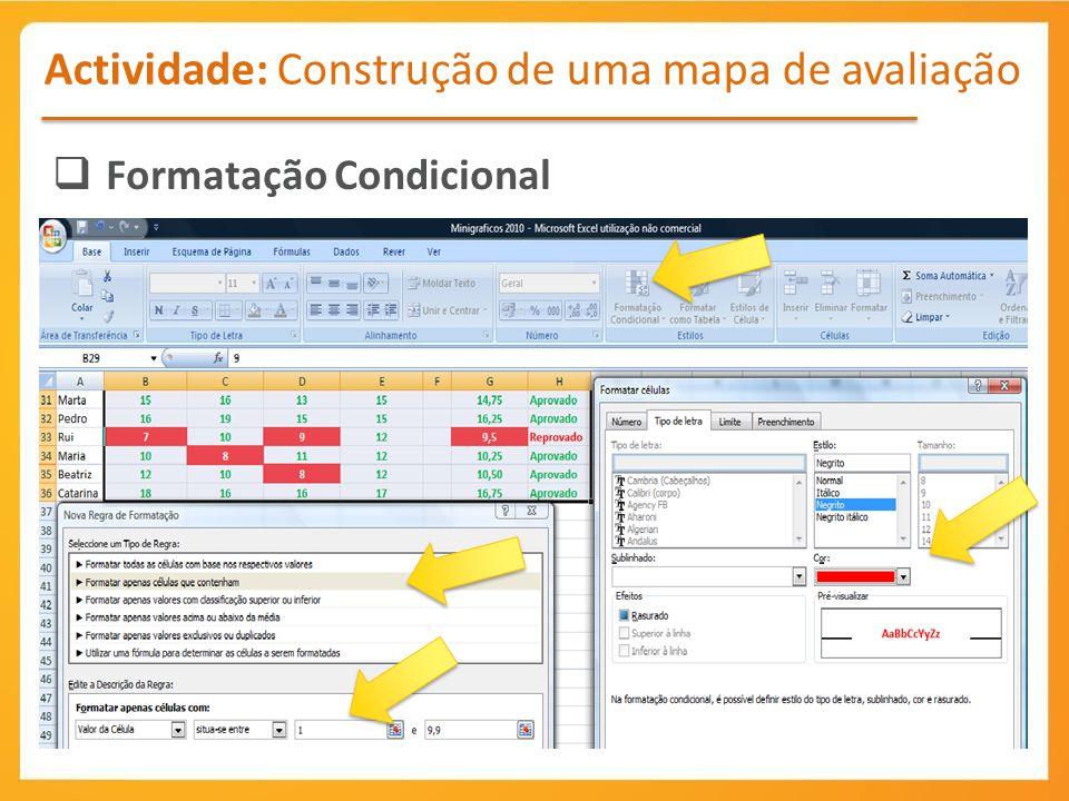 Actividade: Construção de uma mapa de avaliação Formatação Condicional