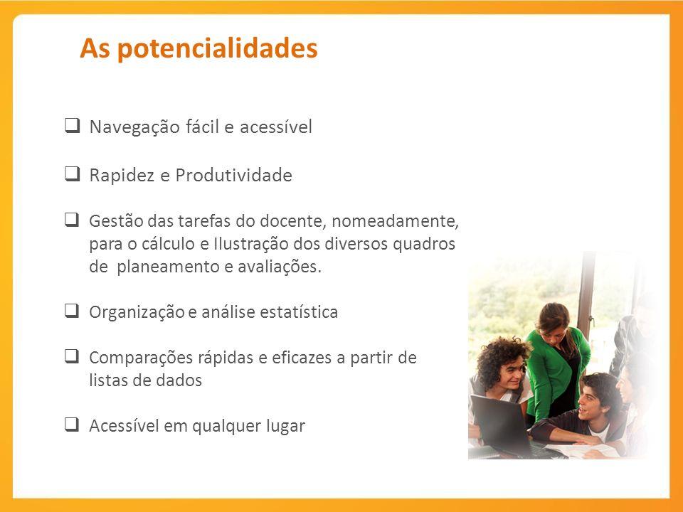 As potencialidades Navegação fácil e acessível Rapidez e Produtividade Gestão das tarefas do docente, nomeadamente, para o cálculo e Ilustração dos diversos quadros de planeamento e avaliações.