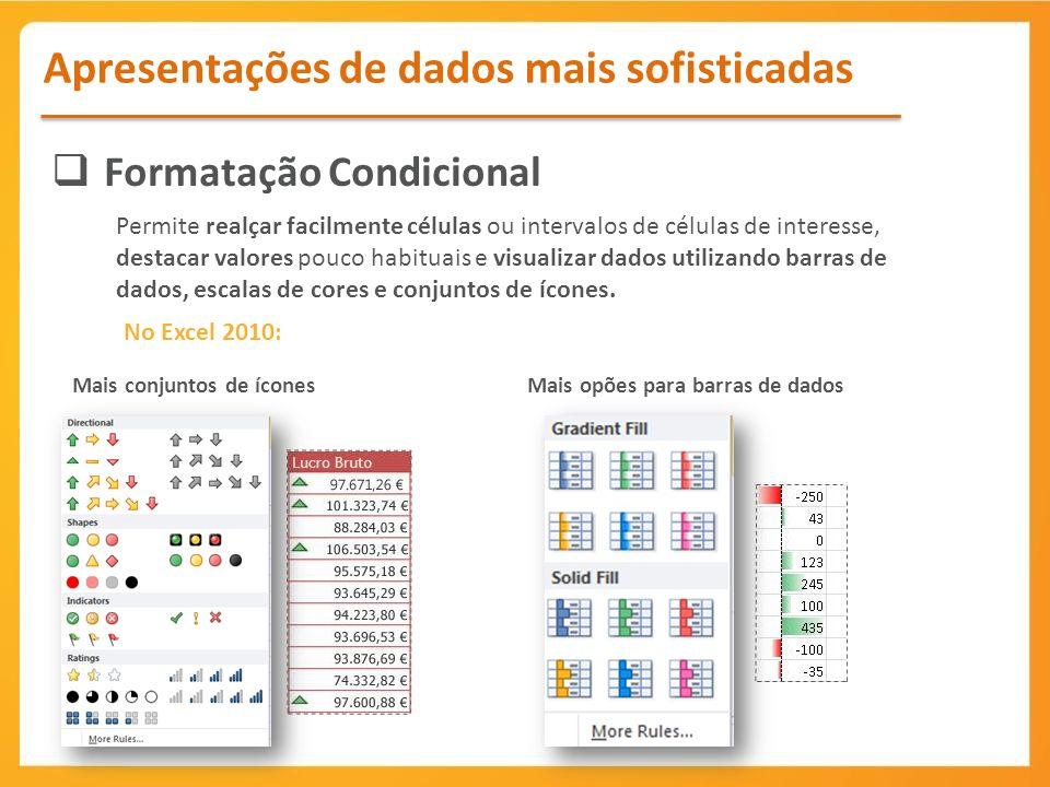 Formatação Condicional Apresentações de dados mais sofisticadas Permite realçar facilmente células ou intervalos de células de interesse, destacar valores pouco habituais e visualizar dados utilizando barras de dados, escalas de cores e conjuntos de ícones.