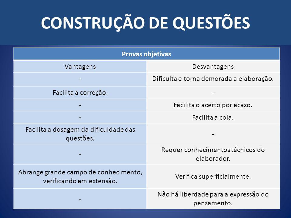CONSTRUÇÃO DE QUESTÕES Provas objetivas VantagensDesvantagens -Dificulta e torna demorada a elaboração. Facilita a correção.- -Facilita o acerto por a