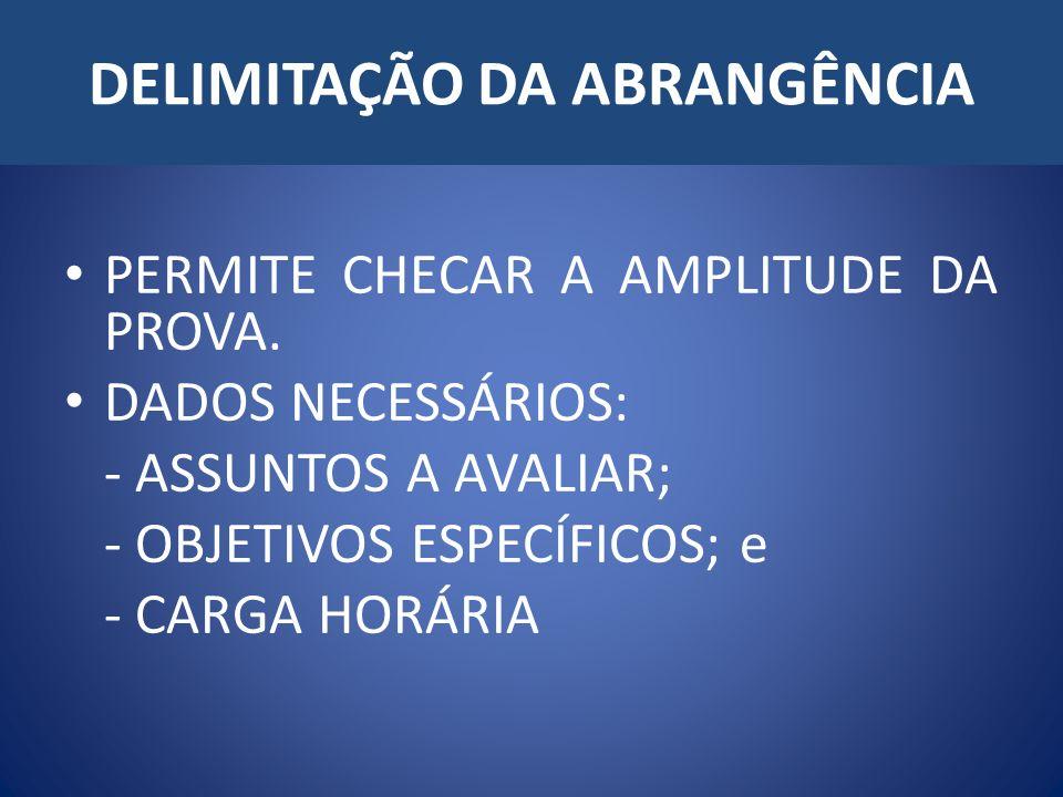DELIMITAÇÃO DA ABRANGÊNCIA PERMITE CHECAR A AMPLITUDE DA PROVA.