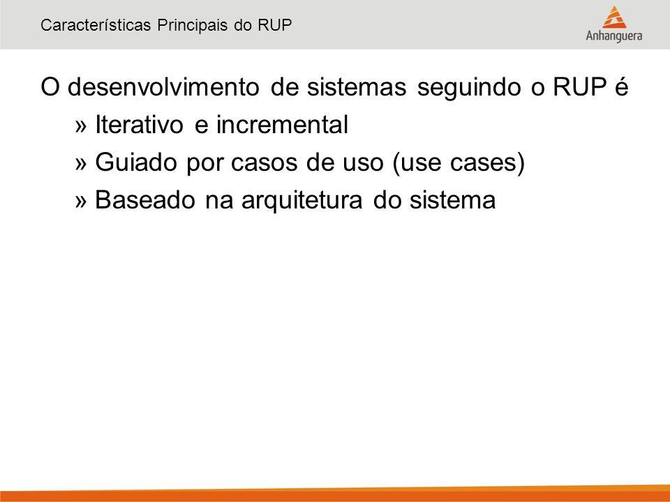 Características Principais do RUP O desenvolvimento de sistemas seguindo o RUP é »Iterativo e incremental »Guiado por casos de uso (use cases) »Basead